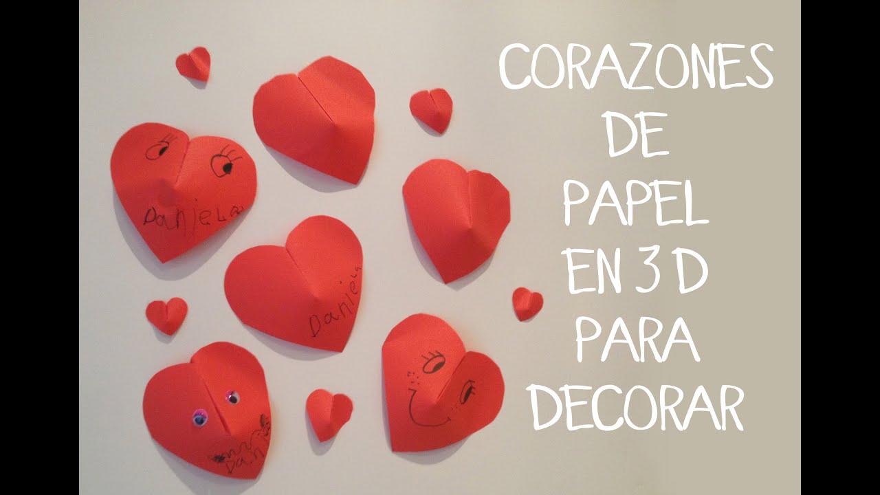 Manualidades para ni os corazones 3d de papel youtube - Papel infantil para pared ...