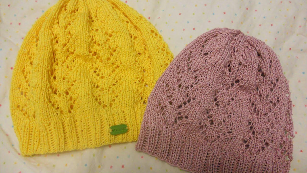 Ажурное вязание спицами шапки 727