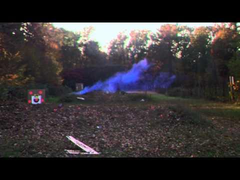 German 26.5mm Flare Pistol firing Blue Smoke at the range.