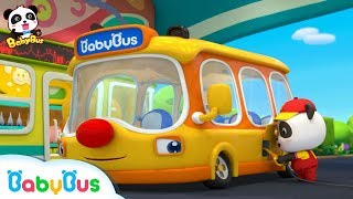 Baby Panda's School Bus is Out of Gas | Gas Station Attendance | Kids Role Play | BabyBus