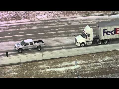 Ford Pickup Rescues Stuck Semi