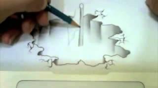 Gambar 3D dengan pensil