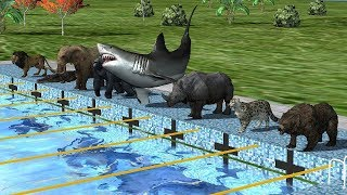 Wild Animals Swimming Race - Animals Indoor Playground - Learn Animals Names And Sounds For Children