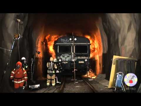 Backlayering - Full-scale fire test in train tunnel 2011-09-07, METRO project, Arvika, Sweden