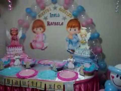 DECORACION BAUTIZO MIXTO....FANTASY & DECORACIONES Y MAS... - YouTube