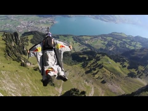 Wingsuit Gliding through the  Crack  Gorge in Switzerland