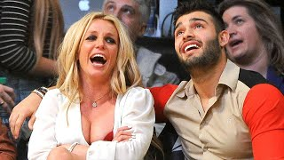 Britney Spears and Boyfriend Sam Asghari Share a Courtside Smooch at Lakers Game