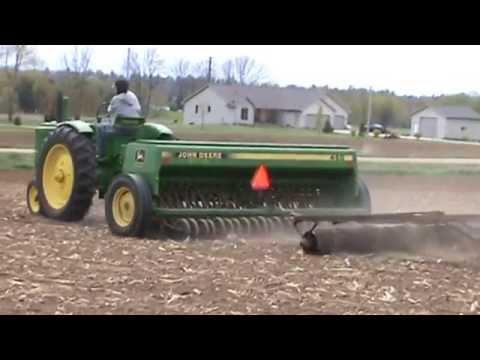 John Deere A And John Deere 450 Grain Drill Planting Alfalfa