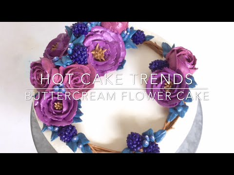HOT CAKE TRENDS Buttercream roses and berries flower wreath cake - How to make by Olga Zaytseva