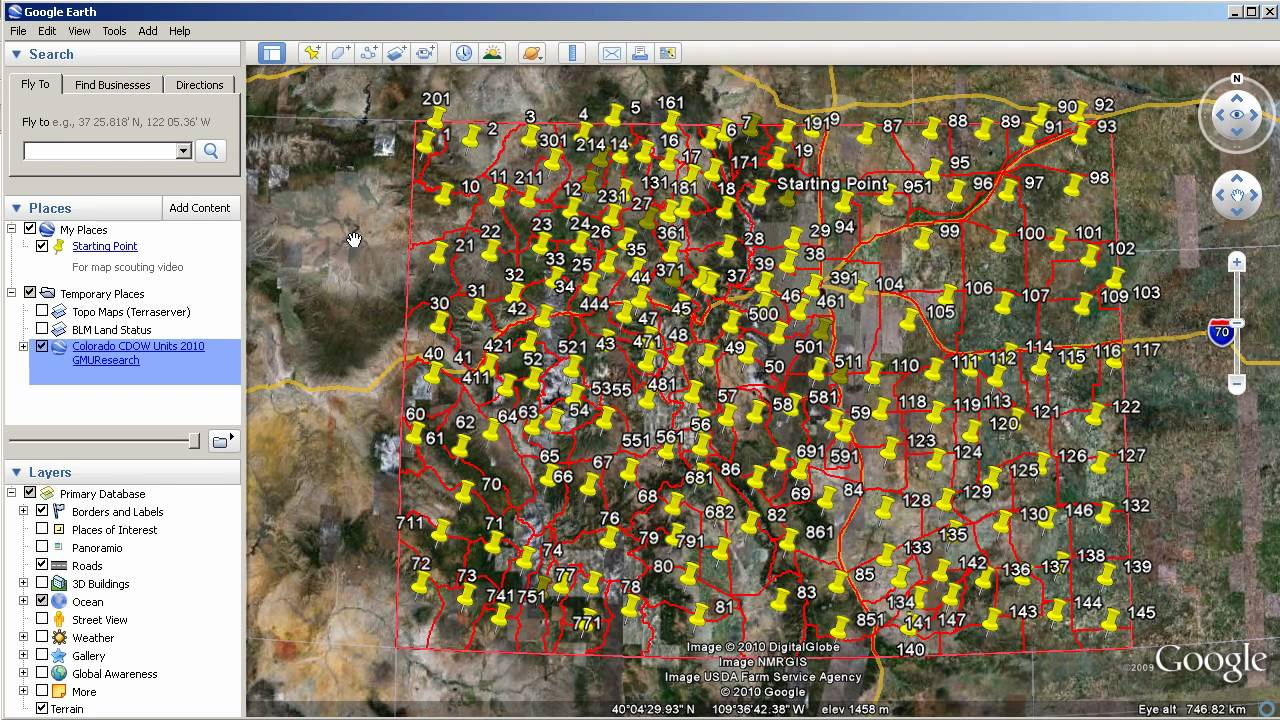 Map scouting with google earth adding blm and colorado for Colorado out of state fishing license