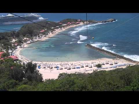 Longest zip line over water, Labadee Haiti
