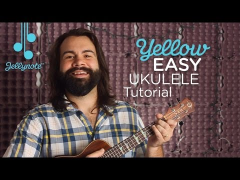 Yellow by Coldplay - Em Chord Ukulele tutorial (Easy Jellynote Lesson)