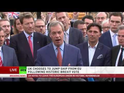 'EU is failing, EU is dying': Nigel Farage speech following Brexit vote