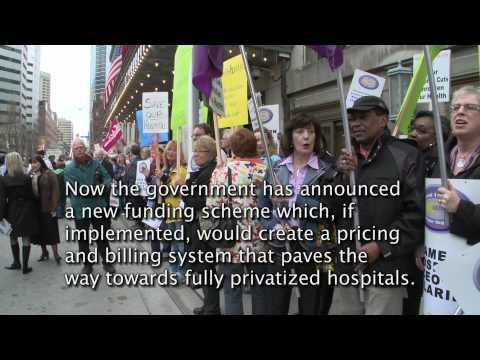 Nurses demonstrate against health care cuts at Health Ministers speech