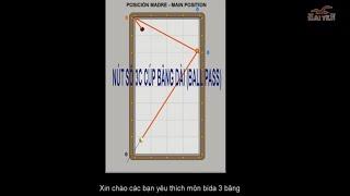 Three cushion - Hướng dẫn bida carom 3 băng: CÚP BĂNG DÀI (hay gọi Ball pass) bằng hình ảnh