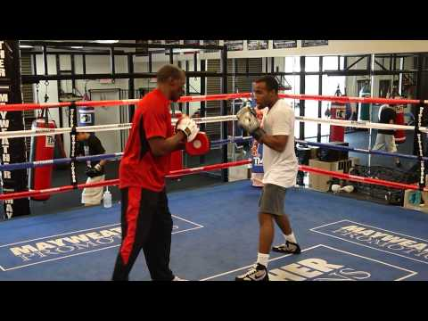 Floyd Mayweather Sr. padwork with Mickey Bey