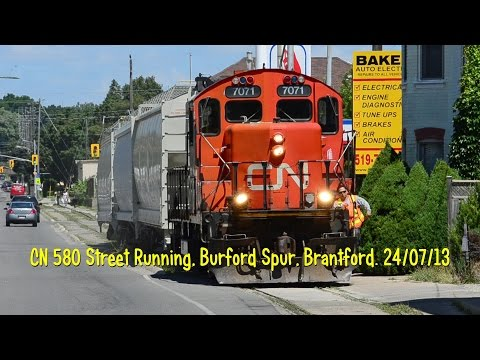 CN Train 580 Street Running, Burford Spur, Brantford. 24/07/13