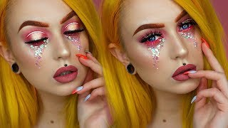 Chunky Glitter Tears Grunge Princess Makeup | Evelina Forsell