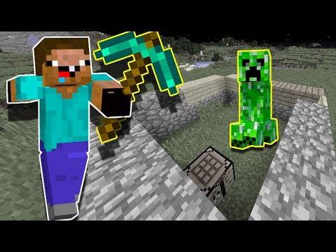 НУБик играет первый раз в Майнкрафт построил пол дома видео для детей про Minecraft