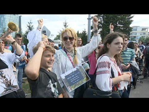 Demonstrators rally against deforestation in Romania