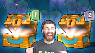 INSANE RARE DOUBLE MAX CLAN CHEST LEGENDARY OPENING!   Clash Royale   x2 LEGENDARY PULLS!