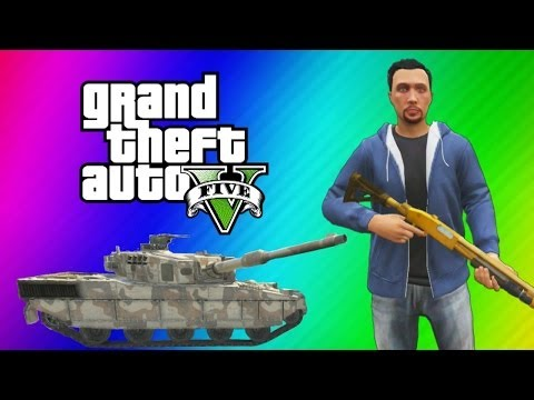 GTA 5 Online Funny Moments Gameplay – Police Station, Tank Launch Glitch, Wildcat Poop, Deep Snow!