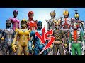 Power Rangers 2017(Black,Blue,Red,Pink,Yellow) Vs Kamen Riders(Kuuga,Delta,Dark Kabuto,V3,Rider 555)