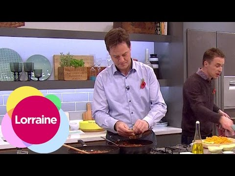Nick Clegg & James Tanner cook up bonfire baked potatoes with ragu filling | Lorraine
