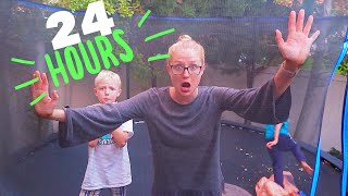 24 Hours On A Trampoline! We Got Rained On!