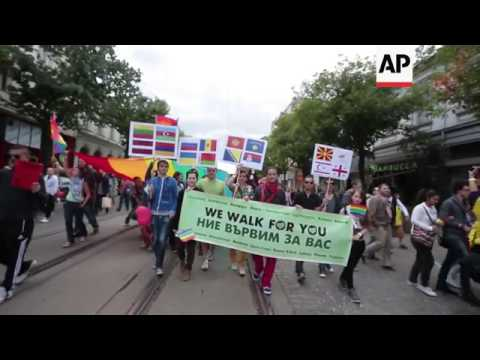 March in support of gay rights and against Russia's homosexuality policies
