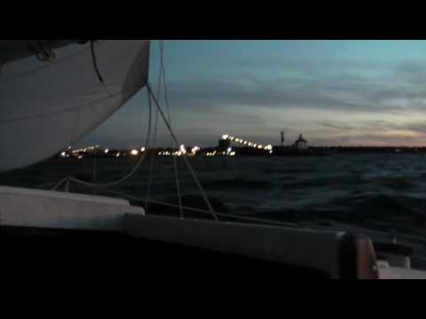 A sunset sail aboard a Grampian 26 on a windy September evening near the ...