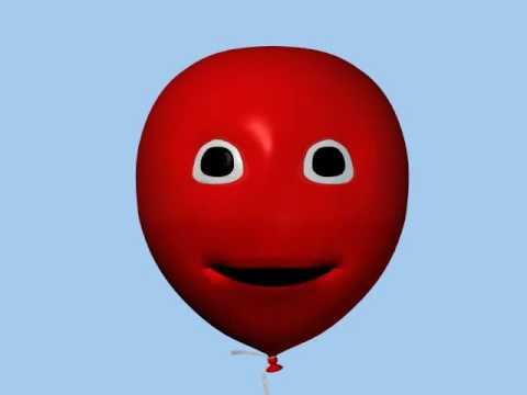 animated flying red  balloons