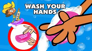 Kids Song WASH YOUR HANDS funny animated children's music cartoon by Preschool Popstars kid songs