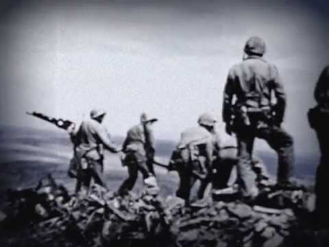 Marines Assault Iwo Jima - Flag Raising - February 1945 (no audio)