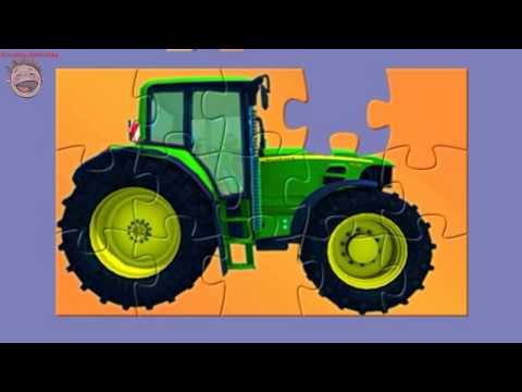 Мультик - Пазл. Техника для малышей. Зеленый Колесный Трактор. Мультфильм для детей