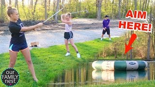 HITTING THE TRAMPOLINE WITH GOLF BALLS!! POND GOLFING!