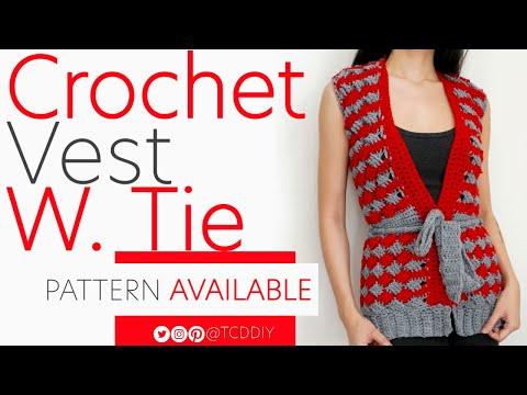 Crochet Vest with Tie | Tutorial DIY