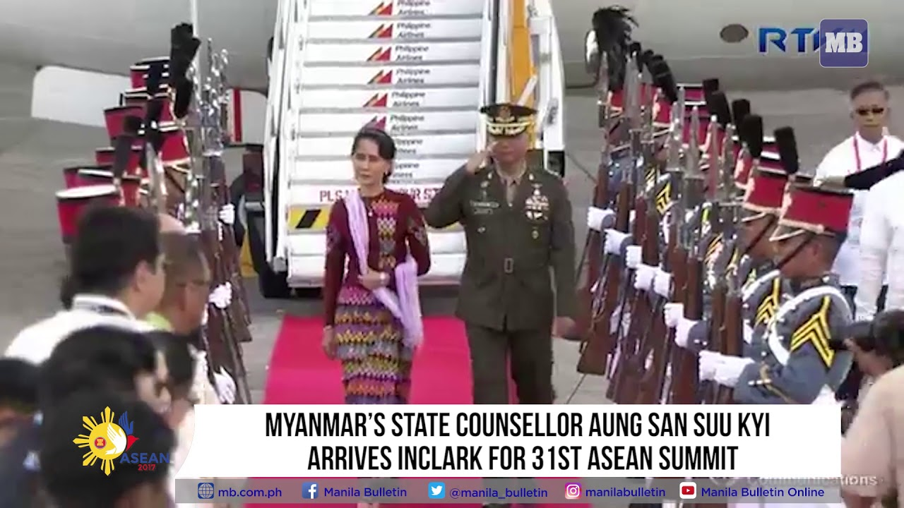 Myanmar's State Counsellor Aung San Suu Kyi arrives in Clark for 31st ASEAN Summit