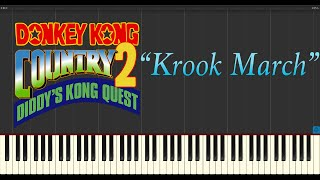 Donkey Kong Country 2: Diddys Kong Quest - Krooks March (Piano Tutorial Synthesia)