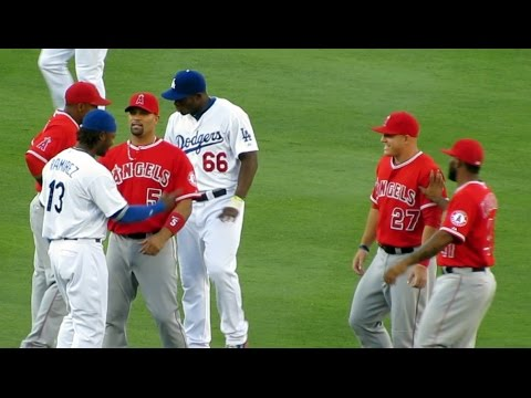 Puig, Trout, Crazy Uribe, Pujols Goofing Around, Dodgers vs Angels