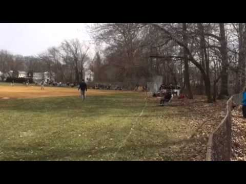 Jake Perkins first hit of season Cinnaminson Middle School