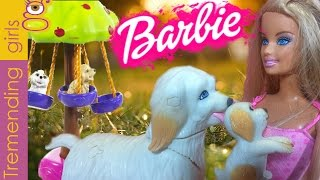 Muñeca Barbie y sus perritos - juguetes Barbie en español  - Barbie doll and her dogs