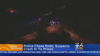 Car Chase Suspects Crash Into Prison