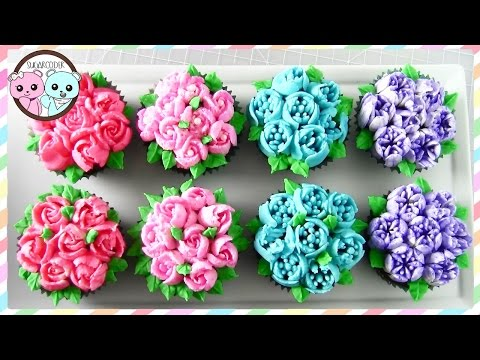 RUSSIAN PIPING TIPS: FLOWER CUPCAKES. FLOWER CAKE - SUGARCODER