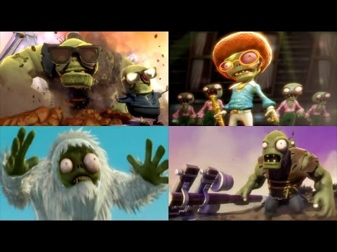 Plants vs. Zombies Garden Warfare - All Final Bosses (Disco Zombie. Yeti. Gargatuar) [PC/Xbox One]