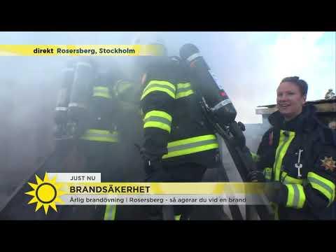 """Maria Forsblom provar på att rökdyka under brandövning: """"Jag är helt slut"""" - Nyhetsmorgon"""
