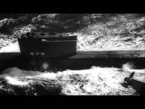 USS nuclear powered submarine 'Skate' at Connecticut harbor HD Stock Footage