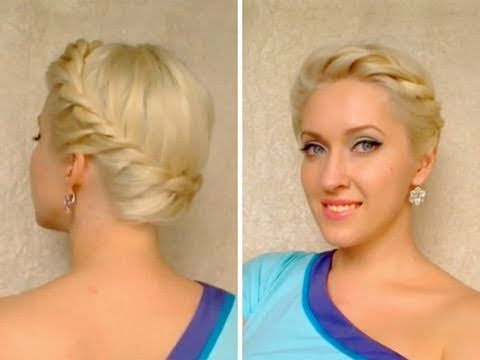 Greek goddess crown braid tutorial Twisted prom updo hairstyle Hochsteckfrisuren mit zöpfen