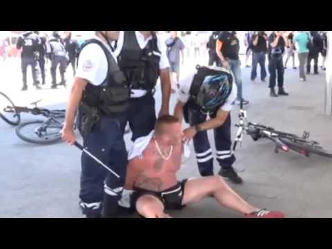 Polish Hooligans vs. Police in Marseille (Euro 2016: Poland vs. Ukraine)