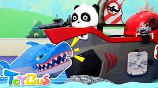 Super Panda Fights against Bad Shark | Playmobil Aquarium Building Playset | Toys for Kids | ToyBus